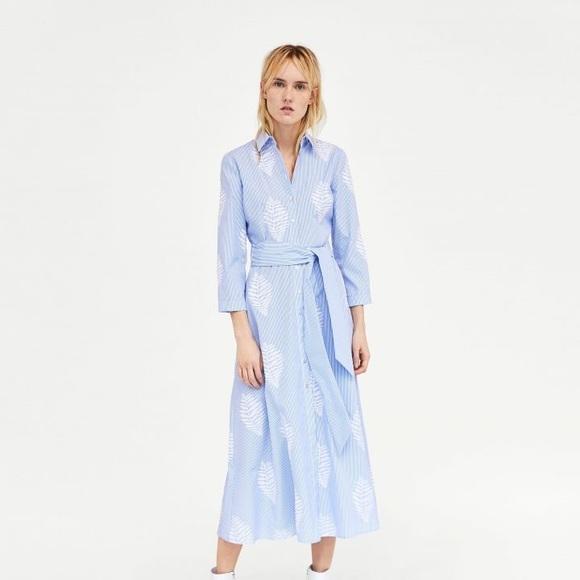 019762a974 Zara striped embroidered tunic dress M nwt